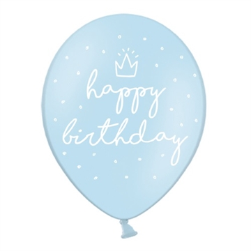 "Latex Ballon ""happy birthday"" Lyseblå/Prikker"