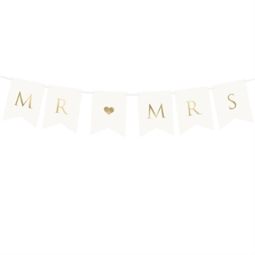 "Banner ""MR & MRS"" Hvidt"