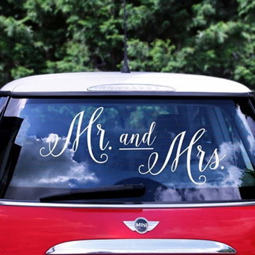 """Mr. and Mrs."" sticker til Bryllupsbilen"