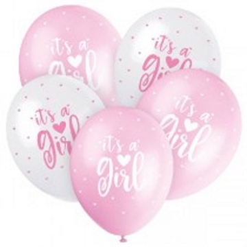 "Lyserød Latex Ballon ""It´s a Girl"" 5 stk"