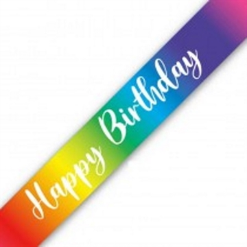 Happy Birthday Banner, Regnbue Metallic