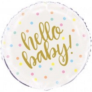 Hello Baby Gold Ballon, 18""